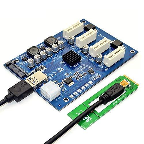 RAPG PCI-E X1 a 4PCI-E X16 Kit de expansión 1 a 4 puertos PCI Express Switch multiplicador HUB 6pin SATA USB Riser Card para BTC Miner Mining