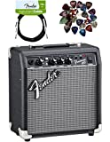 Fender Frontman 10G Electric Guitar Amplifier Bundle with Instrument Cable and Pick Sampler