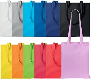 Publiclick® Lote 10 unidades Bolsa compra asas largas colores, Medidas 36X0,2X40cm, Bolsa de algodón 100%. 140 gr/m2