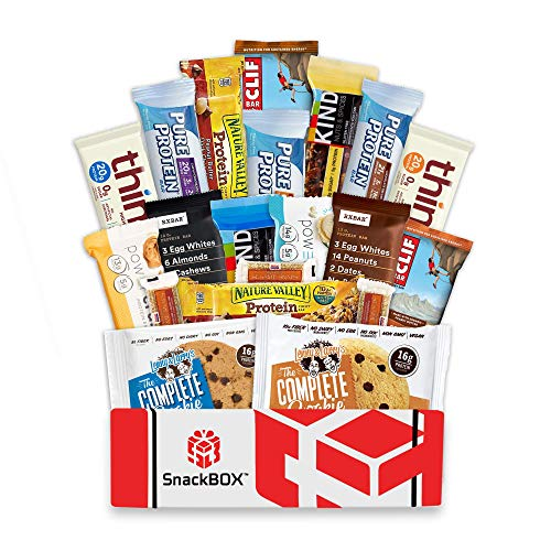Healthy Protein Bars Fitness BOX, Cookies, Snacks Care Package Sampler, Variety Energy Basket (20 Count) for Athletes Weightlifters College, Runners, Fathers Day and More!   Gift Box By SnackBOX