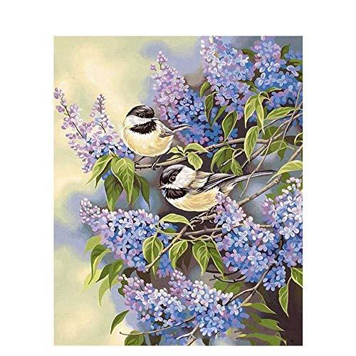 nobrand Kleiner Vogel Flieder Blume Tier DIY Digitales Malen Nach Zahlen Moderne Wandkunst Leinwand Malerei Einzigartiges Geschenk Wohnkultur