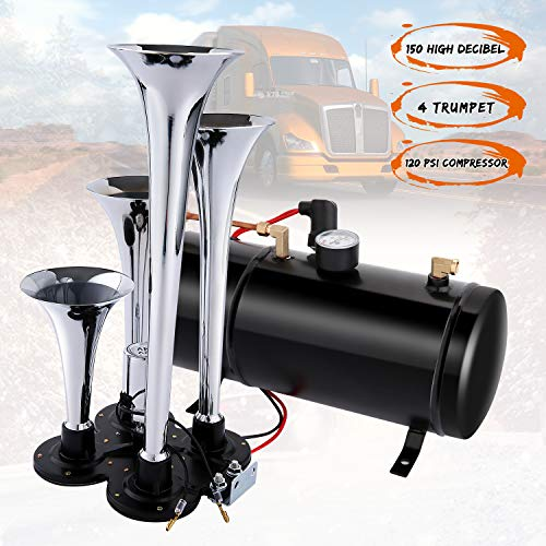 150DB Train Air Horn Kit, 4 Trumpet Train Horn Kit with 120 PSI Air Compressor 1.5 Gal Air Tank for Car Truck Train Van Boat (Silver)