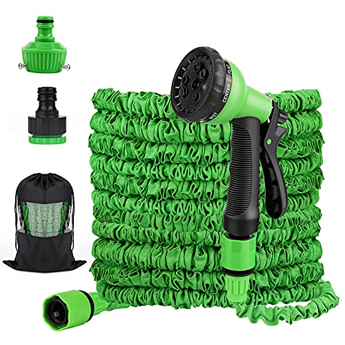 OVAREO Gartenschlauch Flexibler 30m 100FT,Dehnbarer Flexischlauch Latexmaterial Wasserschlauch Flexibel Multisfunktionsbrause mit 8 Funktionen für Gartenbewässerung, Autowäsche, Haus Spülen,Bäder