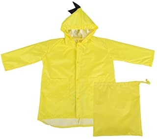 Raincoat for Kids Rain Jacket PVC Raincoat Dinosaur Shaped Lightweight Rainwear for Boy Girls (Yellow L)