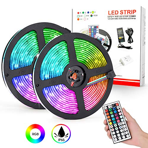 10M Tiras de led RGB 5050, Flexible Multicolor 300 LEDs Impermeable IP65 Tira LED Kit Incluyendo 2 Rollos de 5 Metros cada uno, 44 Teclas Mando a Distancia, Adaptador Conectores para Interior Exterior