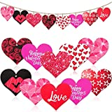 40 Pieces Valentine's Day Wood Heart Shaped Ornaments Wooden Heart Shaped Signs Hanging Heart Tags Embellishment Decorations for Valentine's Day Wedding Party