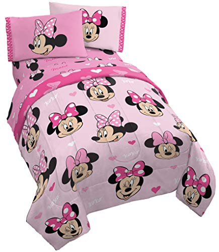 Jay Franco Disney Minnie Mouse Hearts N Love 4 Piece Twin Bed Set - Includes Reversible Comforter & Sheet Set - Super Soft Fade Resistant Microfiber - (Official Disney Product)