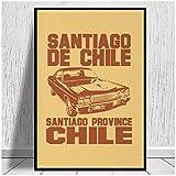 WSTDSM Santiago De Chile-Car 2 Impresiones En Lienzo Lienzo Pintura Póster Sala Familiar Moderna Decoración De Sala De Estar-20X28 Pulgadas X1 Sin Marco