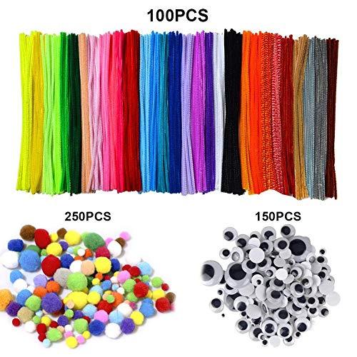 Kinder Bastelset, 100 Farben Bastelfilz Filz +250 Pompons + 150 Stücke Kunststoff Selbstklebend Puppe Augen DIY-Kinderspielzeug Set