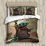 Boys Star Wars Printing Bedding Queen Size,The Mandalorian Baby Yoda Comforter Cover 3 Pieces Duvet Quilt Cover Set for Kids Teen Adult Fans(1 Duvet Cover and 2 Pillowcases)