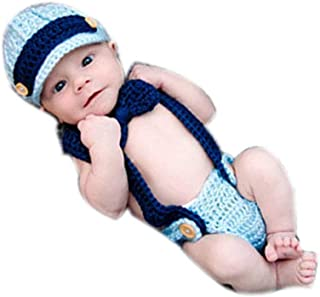 Fashion Cute Newborn Baby Photography Props Boy Girls Outfits Gentleman Cap Butterfly Tie Rompers Set Blue