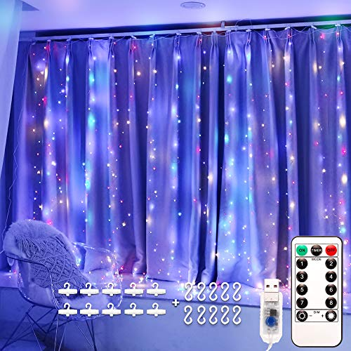 LED Window Curtain String Light Multicolor, Remote Control, 8 Modes Decorative Copper Wire Lights, 3x3m 300 Led Fairy Lights, Usb Plug in, Fairy String Lights for Bedroom Garden Party Festival Wedding