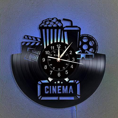 BFMBCHDJ Cinema Vinyl Record Reloj de Pared con luz LED Decoración para el hogar Teatro y Popcorn Wall Wall Regalo de cumpleaños para Amante de la película con LED de 12 Pulgadas