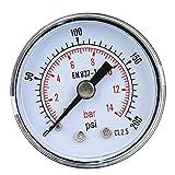 Manometr mechaniczny 1/8 cala BSPT, manometr, opcjonalny zakres 0-300 psi, przyłącze tylne, manometr z dwoma wskazówkami do powietrza, oleju i wody (0-200 psi)