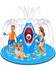"""Tobeape Splash Pad, 70"""" Shark Water Play Pad with 4 Sandbags, Thicken Inflatable Outdoor Sprinkler Pool Water Toys Fun for Children Toddlers Boys Girls and Adults"""