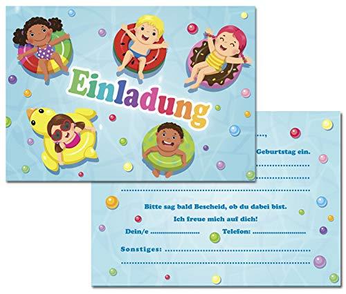 Kreatives Herz Pool Schwimmbad SPASSBAD Einladungskarten zum Kinder Geburtstag (10er Set) Einladungen für Jungen und Mädchen A6 Karten für Poolparty