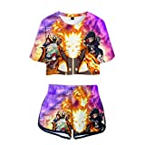 WWZY Naruto Crop Tops T-Shirts + Pantalones Cortos Set Casuales Impresión Digital 3D Uzumaki Naruto Crop Top y Shorts Dos Piezas De Verano para Damas Amantes del Anime,Púrpura,XXL