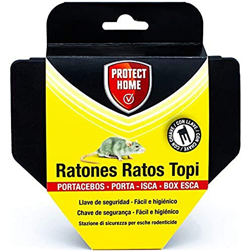 PROTECT HOME Portacebos para Ratones con Llave de Seguridad, facil e higiénico,...