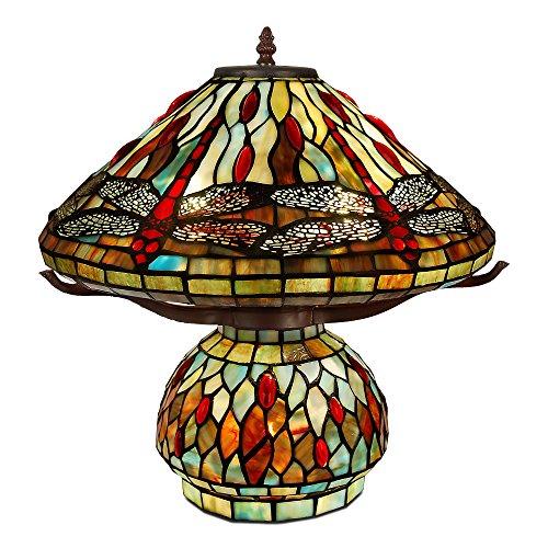 World Art TW60487 Lampes Style Tiffany Lampe de table libellule, 43x42x42 Cm