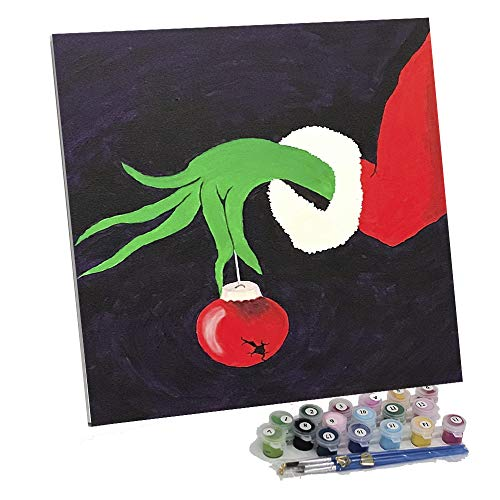 Framed Paint by Number Color Angel DIY Oil Acrylic Paint by Numbers for Adults&Kids Painting on Canvas with Manageable Hard Canvas Board for Home Decoration(Grinch's Hand)
