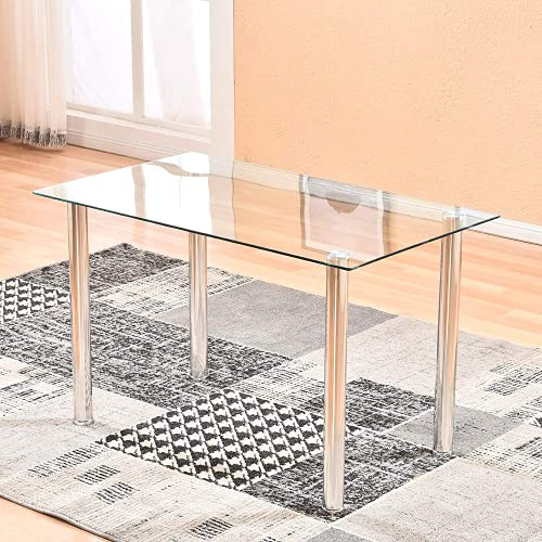 MeJa Rectangle Glass Dining Table Modern with Tempered Glass Top Metal Legs for 2-6 Person High Gloss Kitchen Table for Breakfast Bar Home Office Kitchen Reception Furniture