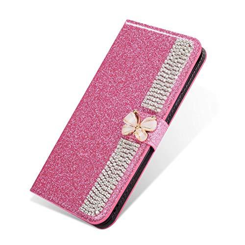 Nadoli Leder Hülle für Huawei P40 Lite,Bling Glitzer Diamant 3D Handyhülle im Brieftasche-Stil Schmetterling Kette Flip Schutzhülle Etui für Huawei P40 Lite,Rosa
