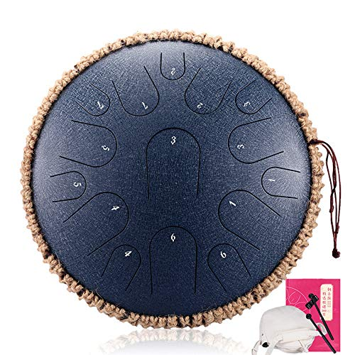 LOKE Stahlzunge Trommel 15 Hinweise 13 Zoll Harmonic HandPan Trommel, Rhythmusinstrument, Tank-Drum Chakra Drum für Meditation, Yoga und Zen mit Reisetasche,I