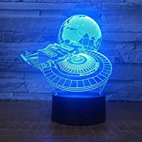USB LEDランプスリープルーム 3D惑星船ナイトライト3Dイリュージョンランプ16色変更装飾ランプ電気スタンドリモコン付きリビングベッドルーム装飾誕生日クリスマスホリデーキッズ最高のギフトのおもちゃ