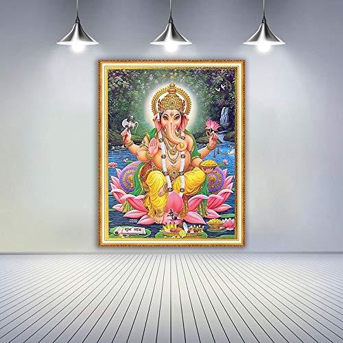 Ganesha DIY 5D Diamond Painting Bordado de Cristales para decoración de Pared del hogar(50X70cmSin Marco)