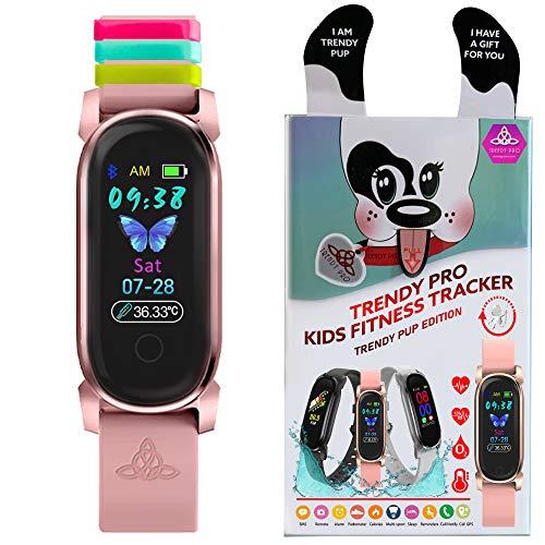 Reloj de pulsera para niños para niños, reloj inteligente para niños, rastreador de actividad, rastreador de pasos, alarma digital, resistente al agua, podómetro y niñas (moda PUP Gold Bloom)