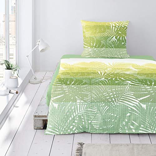 Irisette Bettwäsche Seersucker grün-gelb-weiß Größe 155x220 cm (80x80 cm)