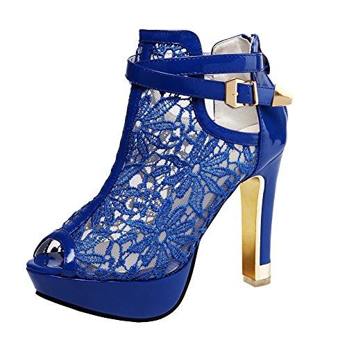 getmorebeauty Damen Pretty Lace Blumen Open Toe High Heels Stiefeletten, Blau (blau), 37 EU