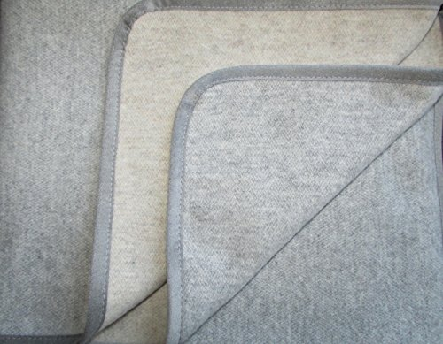 Alpenwolle Kaschmir Plaid doppelseitig Silber/Caramel, Wolldecke, Tagesdecke, Überwurf (140x220)