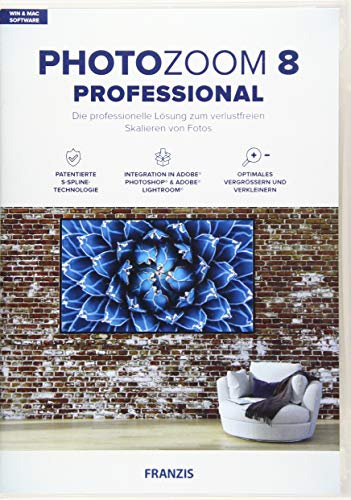 FRANZIS PhotoZoom 8 professional|Bildbearbeitung|Fotografie für Laien und Profis|Verlustfrei vergrößern bis zu 800 %|für Windows & Mac|Disc|Disc