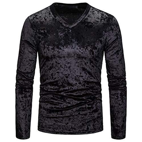 DNOQN Oversize T Shirt Herren Cashmere Pullover Slim Fit Bluse Mode Persönlichkeit Männer Beiläufig Senior Revers Diamant Samt T-Shirt Top Bluse XL
