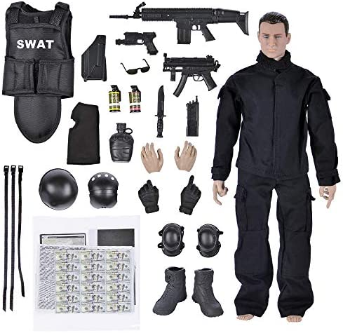 Army Men Toys 12 Military Soldier Swat Police Team Action Figures Playset with Military Weapons product image