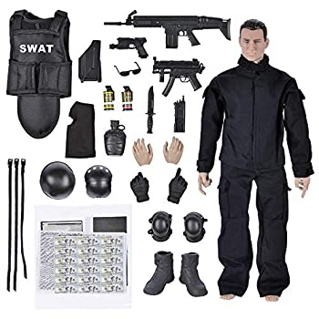 Army Men Toys,12  Military Soldier Swat Police Team Action Figures Playset with Military Weapons Accessories for Kids Boys