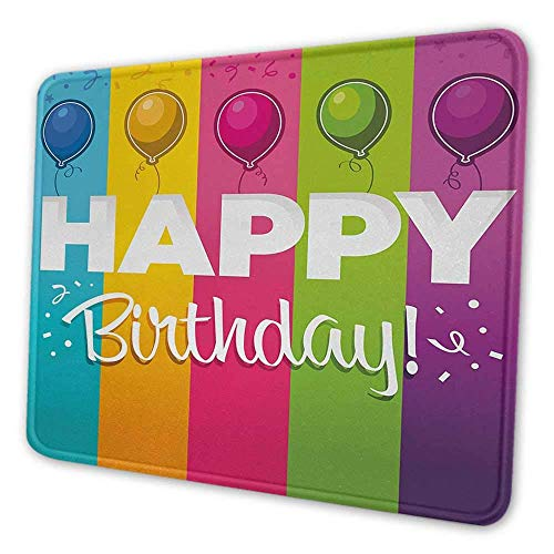Geburtstag gedruckt gedruckte Mauspad Feier Vertikale Fettdruck in verschiedenen Farben mit Luftballons Festliche Schrift Professionelle Gaming Mauspad Multicolor