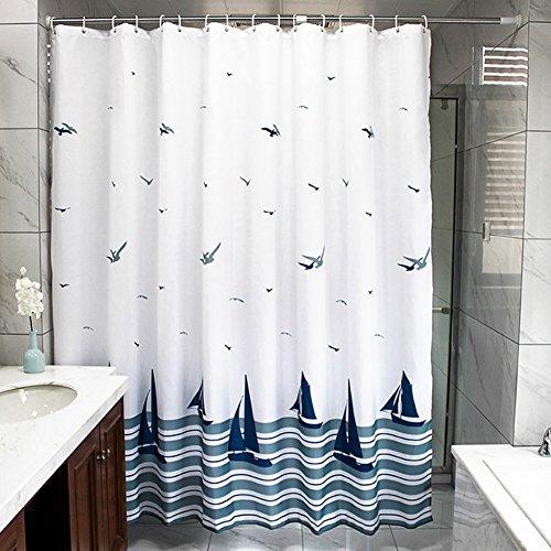 HM&DX Wasserdichter duschvorhang Mit Ringe, Antischimmel Singt Badvorhänge Blumen für Bad Hotel-Weiß 200cmx100cm (79''x39'')