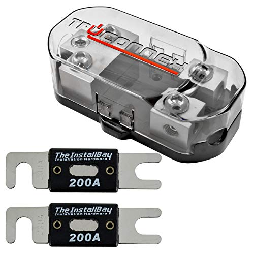 TruConnex 1-4 Gauge Input and 4-8 GA Outputs Dual ANL Fuse Holder Distribution Block and 2 Pack ANL Fuses - 200 AMP
