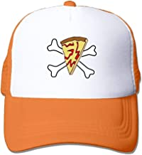 uykjuykj Baseball Caps Hats Funny Bag Pirate Pizza Skull Crossbones Mesh Women Surf Trucker Baseball Hat Orange Adjustable Unique Personality Cap