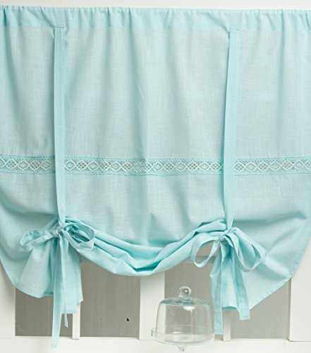 www.mylovelyhomeshop.de Julia Raffgardine Mint Pastell 100x120cm Gardine Raffrollo Landhaus Shabby Chic Vintage Franske Leinenoptik