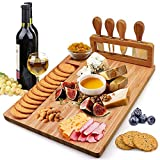 Bamboo Cheese Board Set Charcuterie Platter Serving Meat Board Including 4 Stainless Steel Knife and Serving Utensils for Christmas Wedding Birthday Anniversary