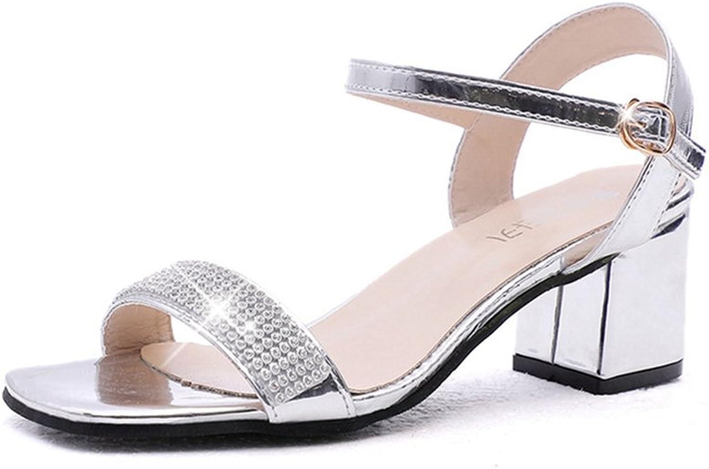 T-JULY Womens Ladies Fashion Sparkle Glitter Heels Square Toe Pumps Chunky Heel Slip on Sex Comfy Dress Sandals