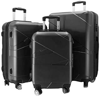 Luggage Trolley Bag Set 3 Pieces Black, Travel Bag set