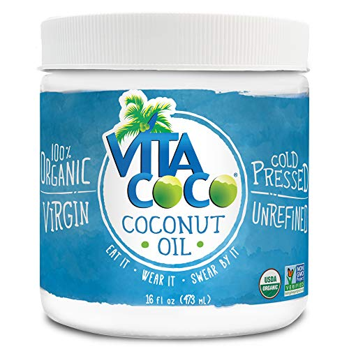 Vita Coco Organic Virgin Coconut Oil, 16 Ounces - Non GMO Cold Pressed Gluten Free Unrefined Oil - Use as Cooking Oil, Skin Moisturizer or Hair Shampoo