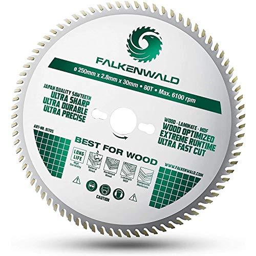 FALKENWALD  Hoja de sierra 250 x 30 para madera, corte fino gracias a 80 dientes HM, compatible con Bosch GTS 10 XC, PTS 10 y Metabo KGS 254 M, 250 x 30 mm