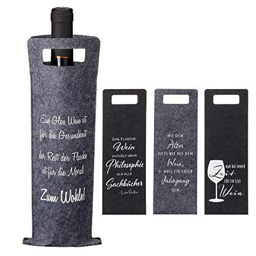 Cepewa 4er Set Weinflaschentasche aus Filz mit Sprüchen in 4 Designs, ca. 41 x 14,5 cm grau/schwarz Weintasche Aufbewahrungstasche