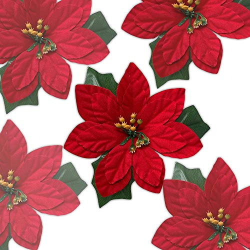 BANBERRY DESIGNS Poinsettia Flowers - Clip On Set of 24 – Red Poinsettias - Christmas Decorations - Decorative Clips Floral Accessories