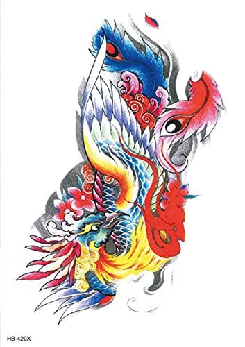 Flor Ave Fénix Brazo De Flor 15x21cm-3Pcs Kit De Plantillas De Tatuajes Pegatinas De Tatuaje De Arte Corporal Tatuajes De Transferencia Temporal Boceto Negro Fiesta De Cumpleaños Realista Fiesta